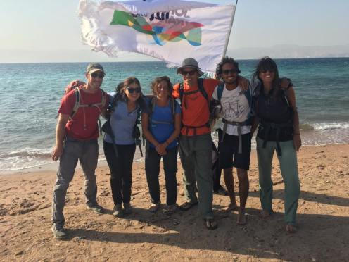 Jordan Trial team at the finish point in Aqaba south of Jordan