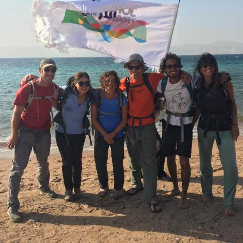 Jordan Trial team at the finish point in Aqaba south of Jordan