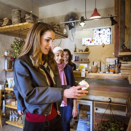 Queen Rania visiting Namliyeh Jam Shop in Weibdeh
