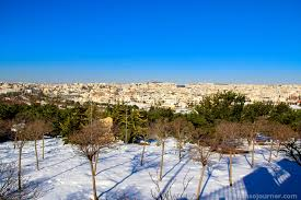 King Hussein Park covered in winter