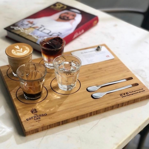 A coffee serving inspired by brahim's experience at FIKA, Coffee House, NYC. It represents the development of coffee drink: manual brewing, an espresso and a milk pour over drinks. Served with a cup of sparkling water