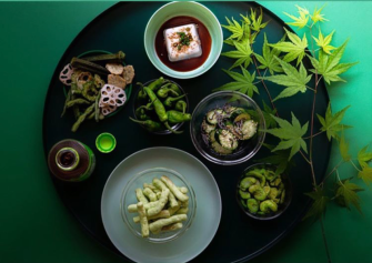 Snack tray by @leenalzaben: silken tofu, shishito peppers, cucumbers with kelp, roasted fave beans, pea puffs, green tea puffed okra, green beans & lotus root
